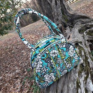 Vera Bradely Purse Bag Teal Green Island Blooms